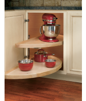 "RAS 38"" Half Moon Wood Lazy Susan -2 Shelf Set w/ Hardware"