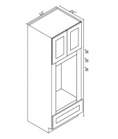 "Greystone Shaker Oven Cabinet 90"" High- 2 Upper Doors, 1 Drawers"