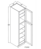 Taylor Espresso Tall Pantry, 1 Upper Door, 1 Lower Door, 4 Adjustable Shelf