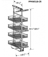Grenada Cognac Pantry Pullout 4 Chrome Wire Shelves