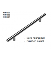 Pulls-Euro Railing Brushed Nickel 10""