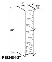 "Grenada Cognac Tall Pantry Cabinet 84"" High - 2 Doors, 1 Fixed and 4 Adjustable Shelves with 2 Rollout Trays"