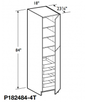 "Grenada Cherry Tall Pantry Cabinet 84"" High - 2 Doors, 1 Fixed and 4 Adjustable Shelves with 4 Rollout Trays"