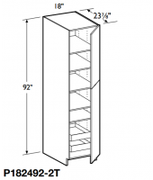 "Grenada Cherry Tall Pantry Cabinet 92"" High - 2 Doors, 1 Fixed and 4 Adjustable Shelves with 2 Rollout Trays"