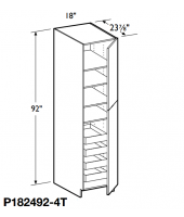 "Grenada Cherry Tall Pantry Cabinet 92"" High - 2 Doors, 1 Fixed and 4 Adjustable Shelves with 4 Rollout Trays"