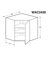 "Madrid Cherry Wall Angle Corner Cabinet 24"" Wide and 30"" High Single Door with 2 Adjustable Shelves"
