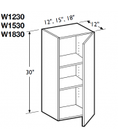 "Madrid Cherry Wall Cabinet 12"" Wide and 30"" High - 1 Door, 2 Adjustable Shelves"