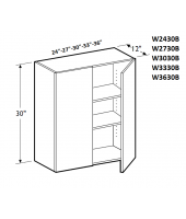 Greystone Shaker Wall Cabinet 36W x 30H Double Door with 2 Shelves