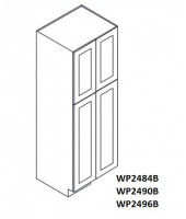 "Greystone Shaker Tall Pantry Cabinet 24""W x 96""H - 4 Doors, 1 Fixed and 6 Adjustable Shelves"